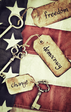 3 Keys with the Tags freedom, democracy and change on an amarican flag background