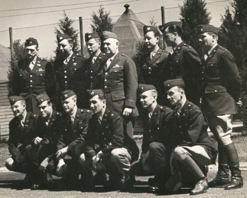 Picture of Office of Strategic Services (OSS) Director General William J. Donovan with members of the OSS Operational Groups (WWII)